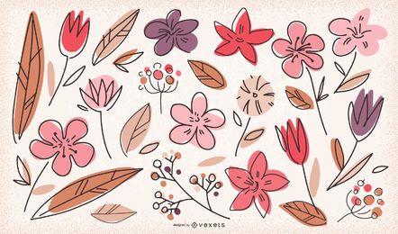Colección de flores Doodle
