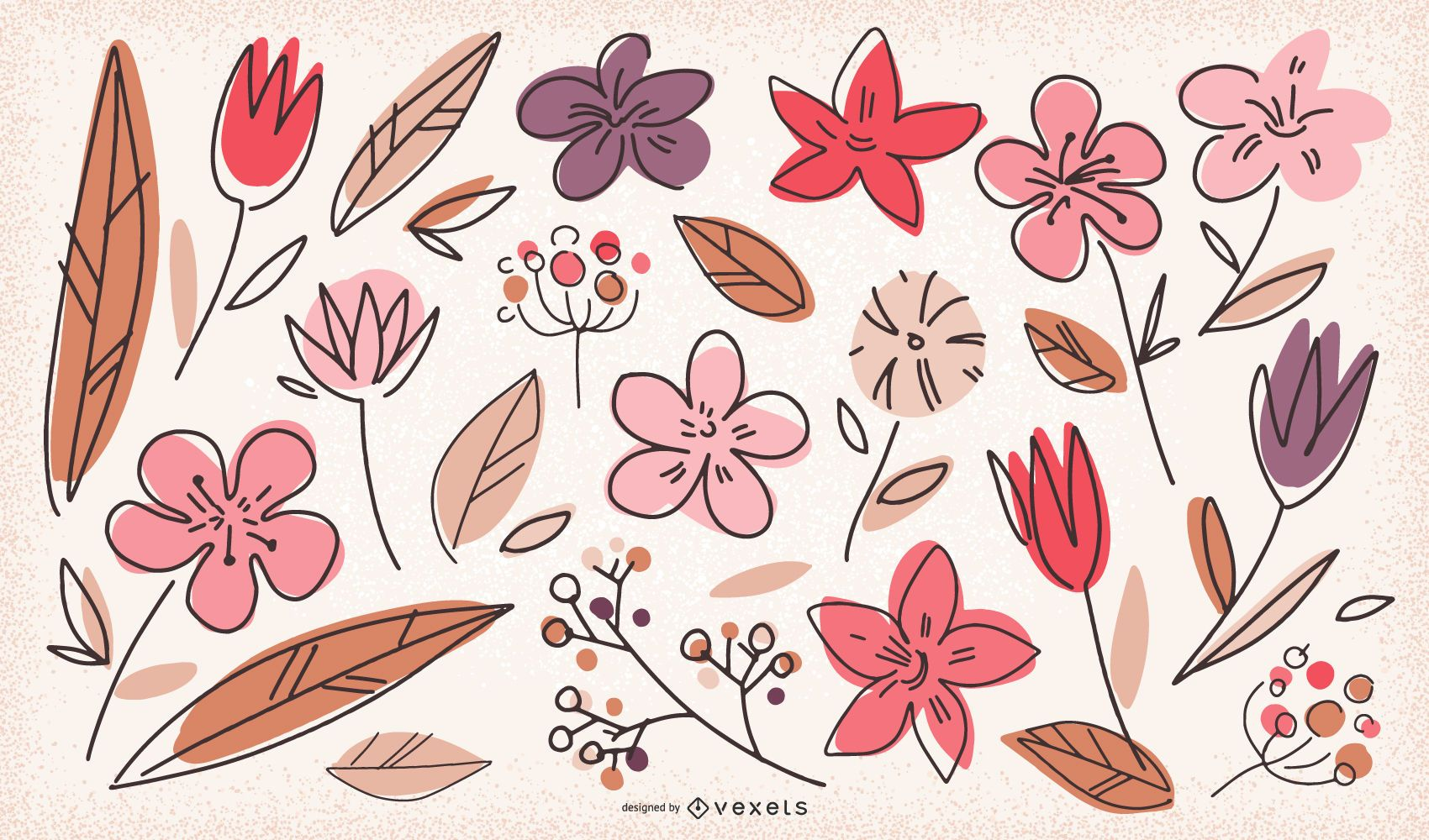 Doodle flowers collection
