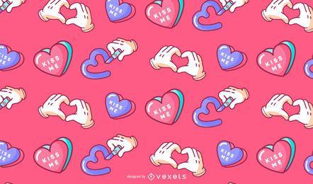 Diseño del patrón del día de San Valentín bésame