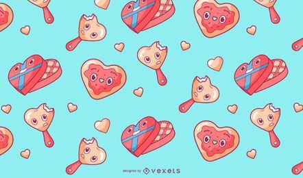 Design de padrão de doces dia dos namorados