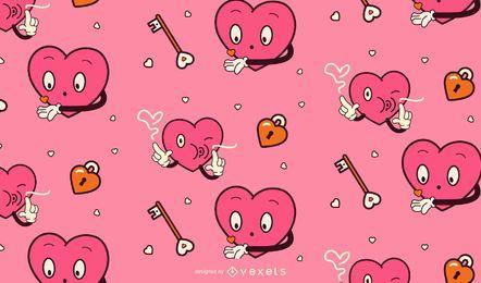 Dia dos namorados desenho animado padrão de corações