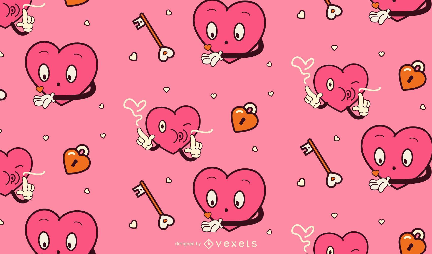 Patrón de corazones de dibujos animados de san valentín