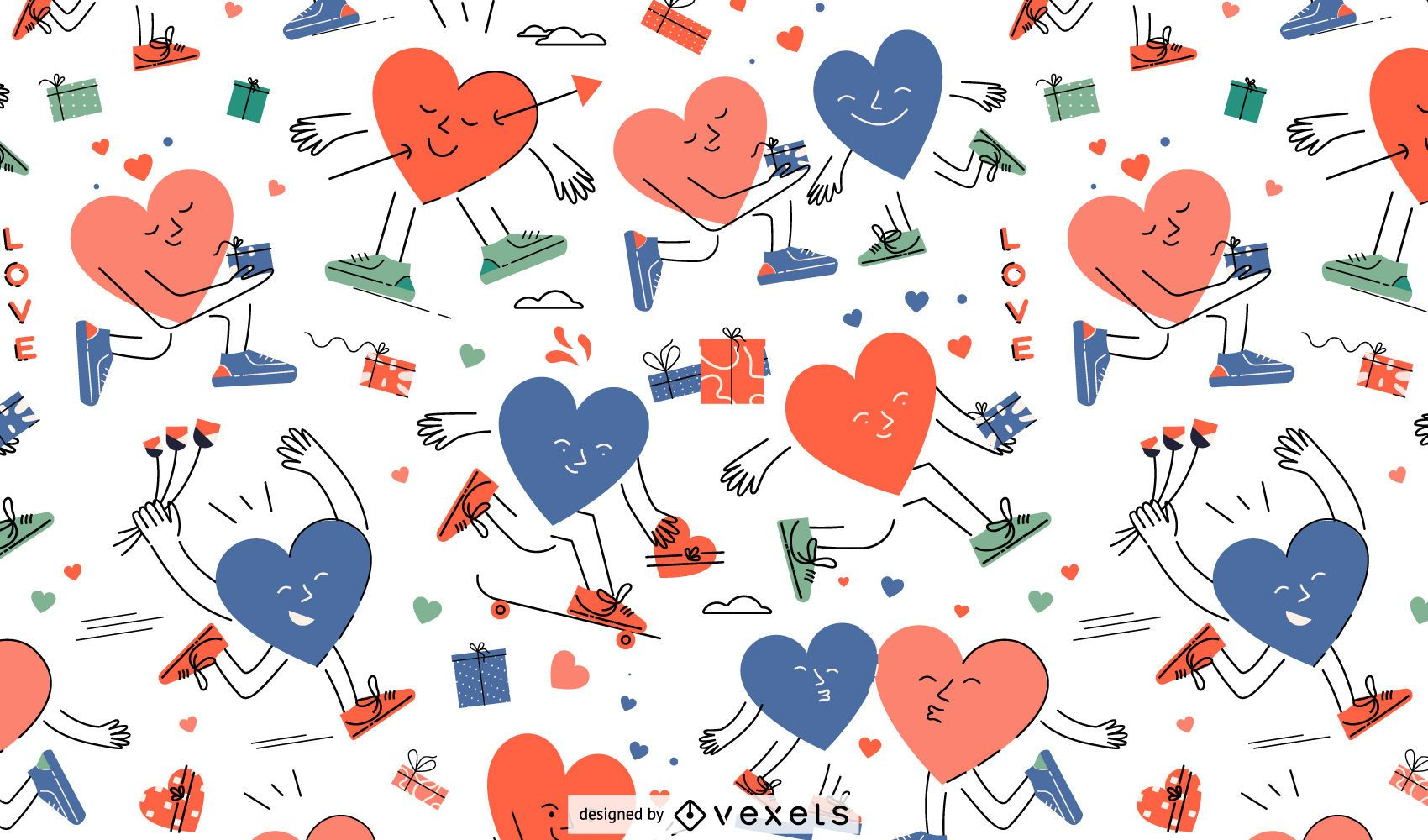 Valentine's heart characters pattern