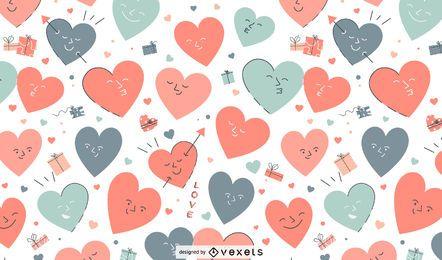 Patrón de personajes de corazón de San Valentín