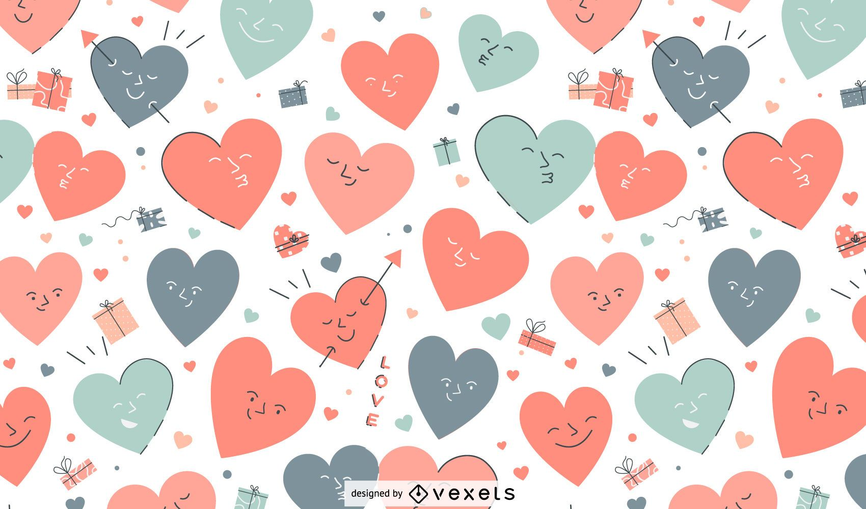 Valentine's day heart characters pattern