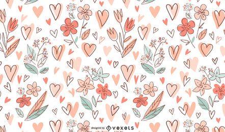 Design de padrão de flores e corações