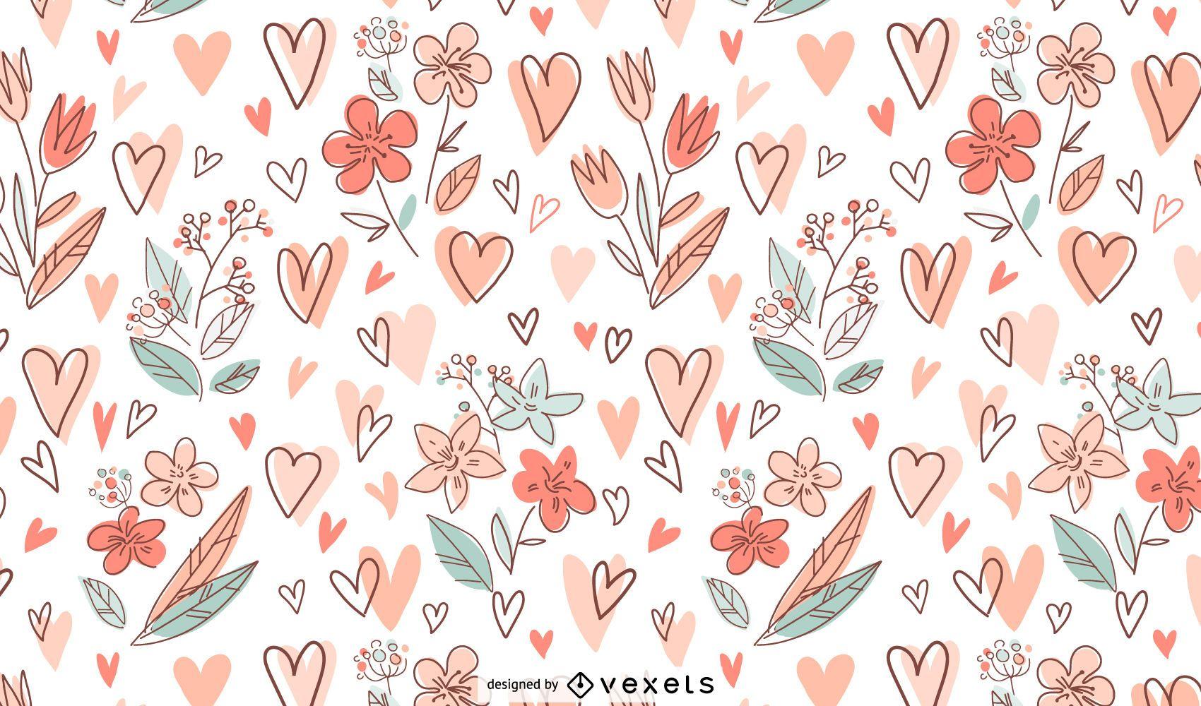 Desenho de padrões de flores e corações