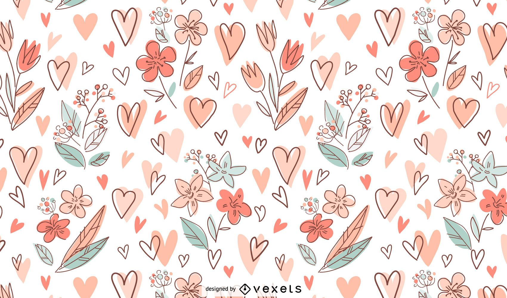 Flowers and hearts pattern design