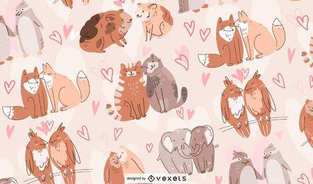 Design de padrão de casais de animais