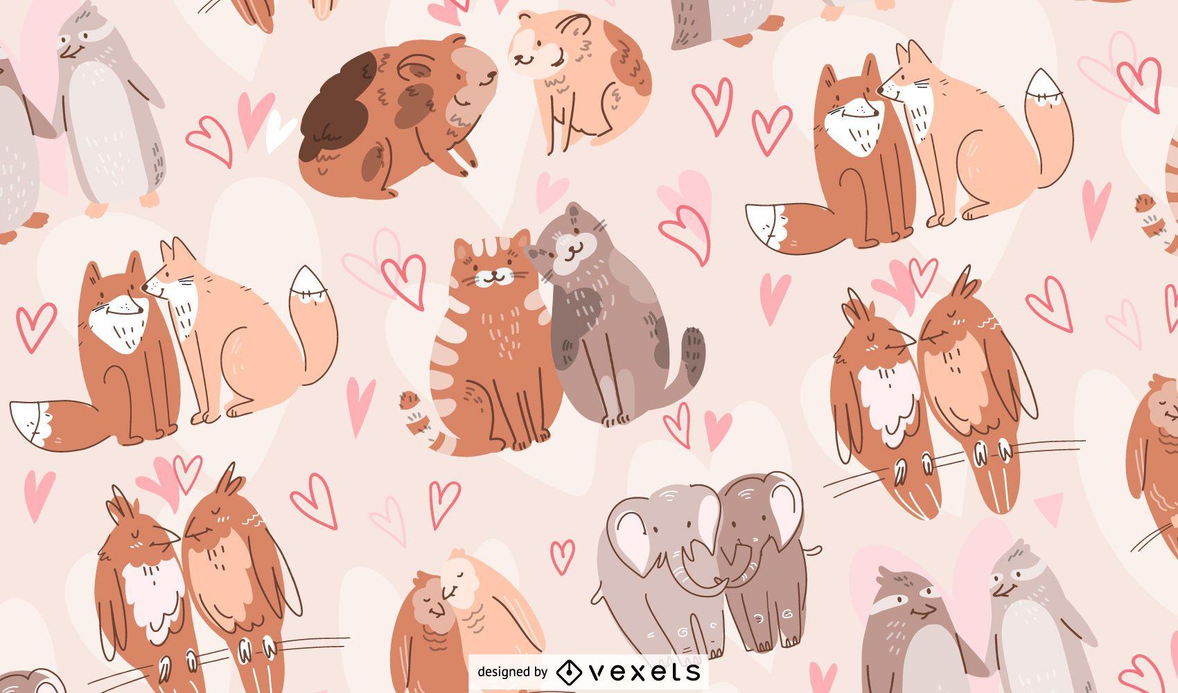 Animal couples pattern design