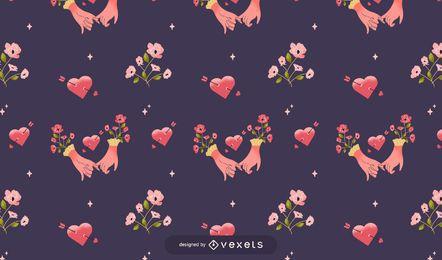 Diseño de patrón de manos de san valentín