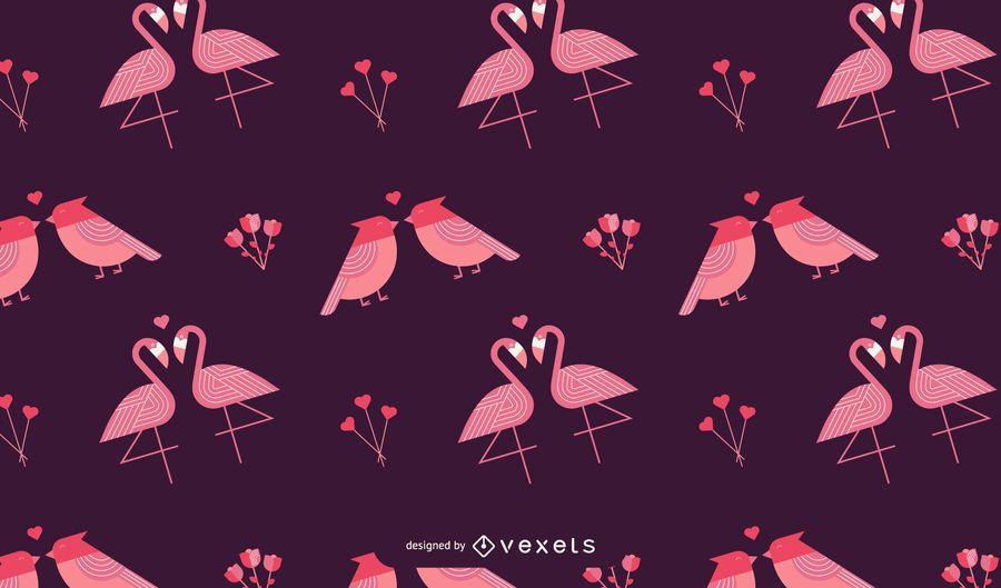 Valentine's birds pattern design