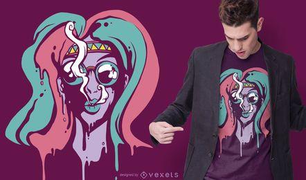 Diseño de camiseta de chica trippy