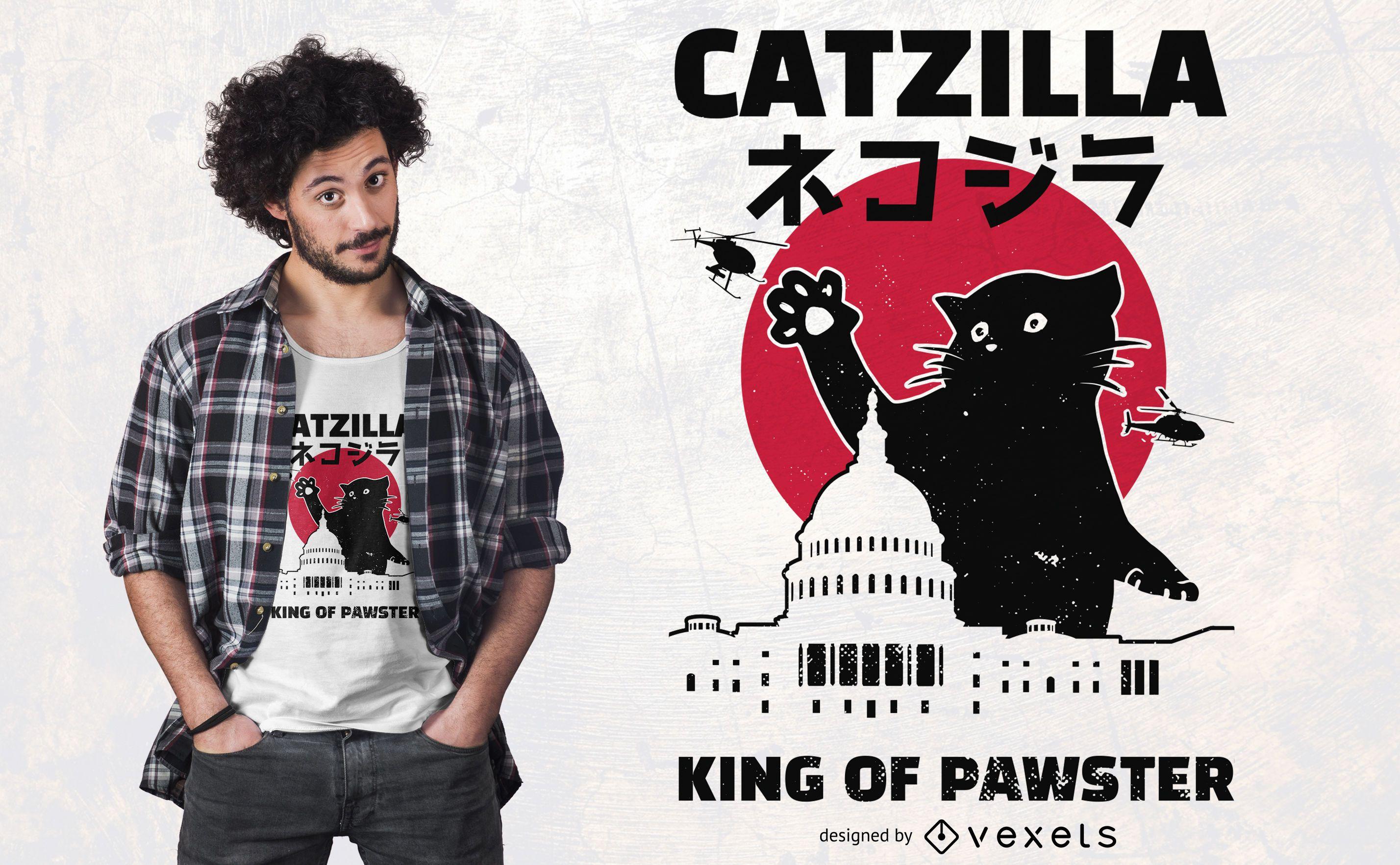 Design de t-shirt Catzilla