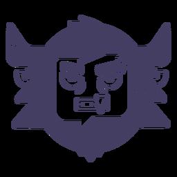 Silhueta de etiqueta yeti com raiva