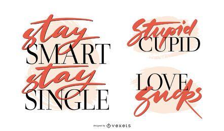 Anti-Valentinstag-Schriftzug-Set