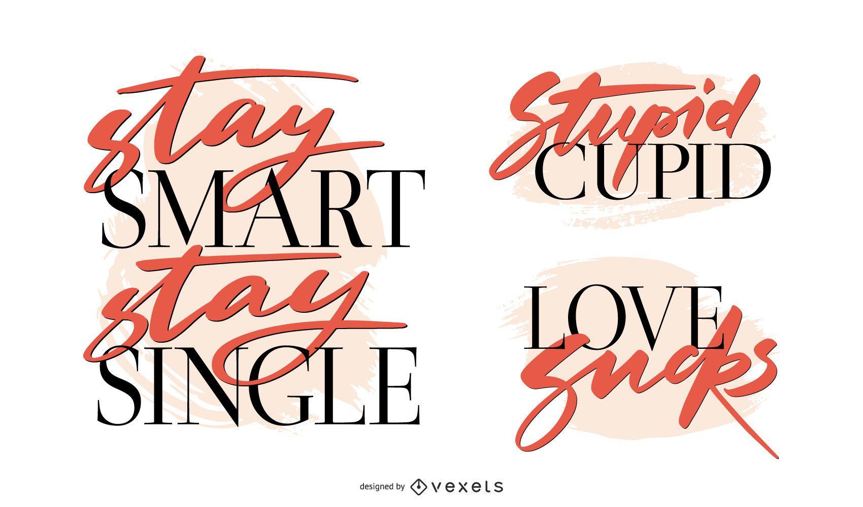 Anti-Valentinstag-Schriftzug-Set - Vektor Download