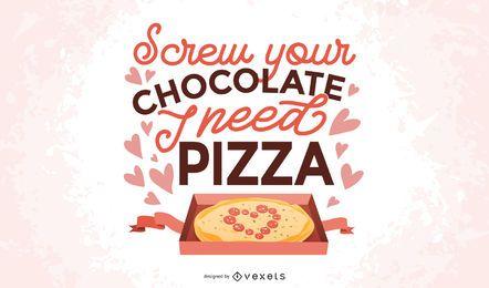 Diseño de letras anti pizza de San Valentín