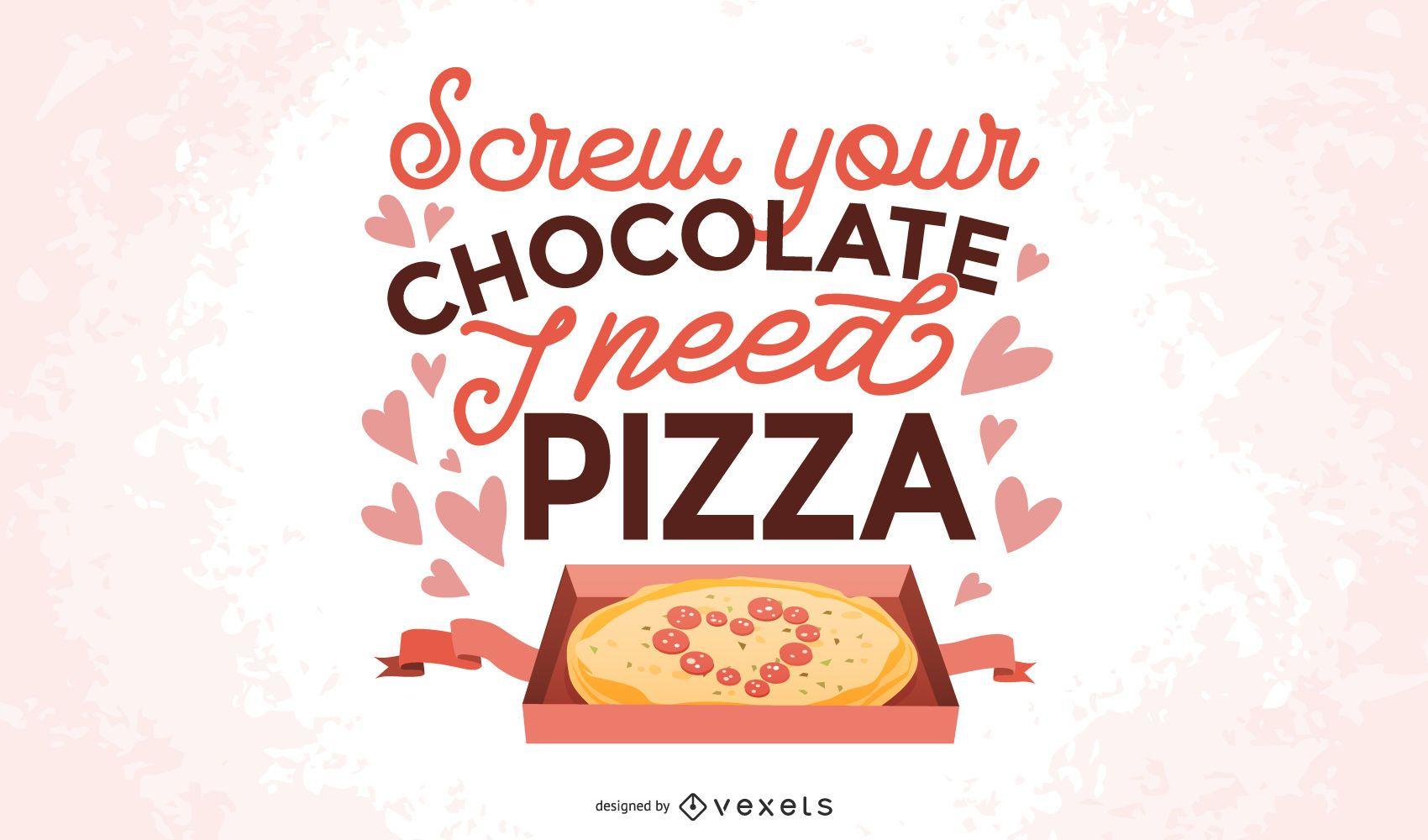 Diseño de letras de pizza anti San Valentín