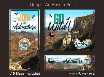 Conjunto de banner publicitario de aventura en la montaña