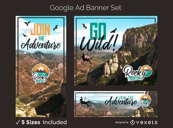 Mountain adventure ad banner set