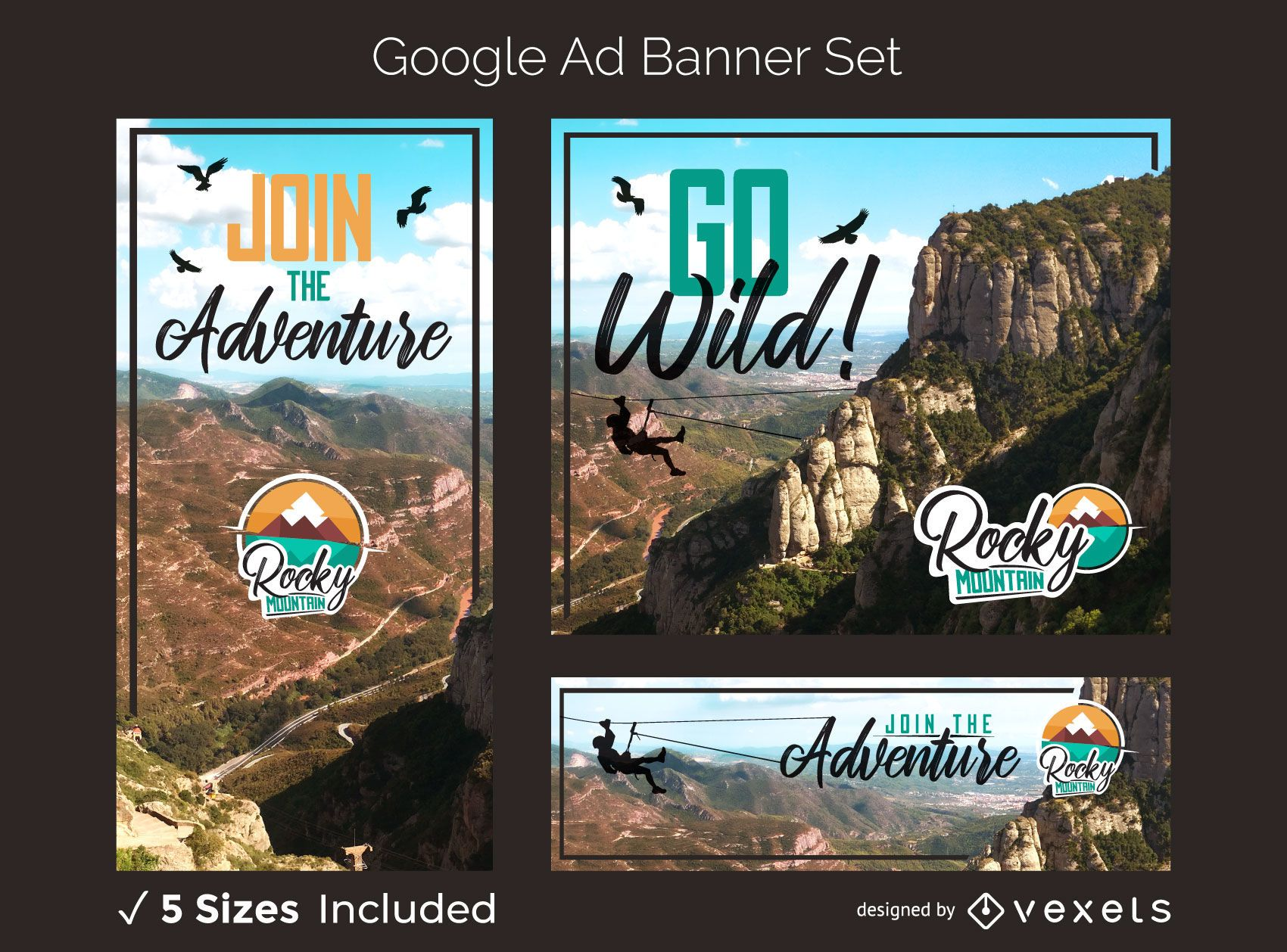 Mountain adventure ad banner set