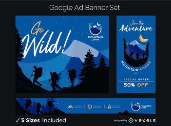 Conjunto de banner de anuncios salvajes de montaña