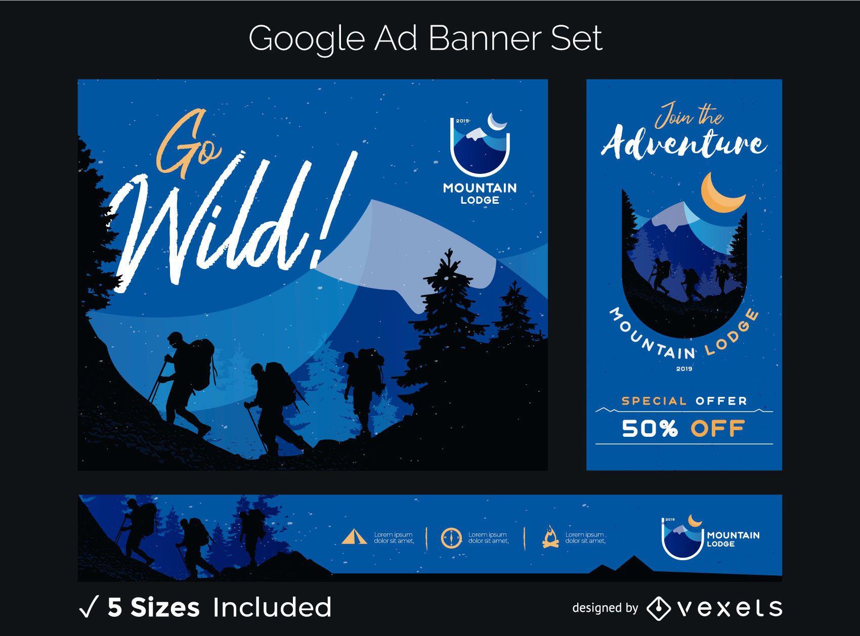 Conjunto de banner publicitario de montaña salvaje
