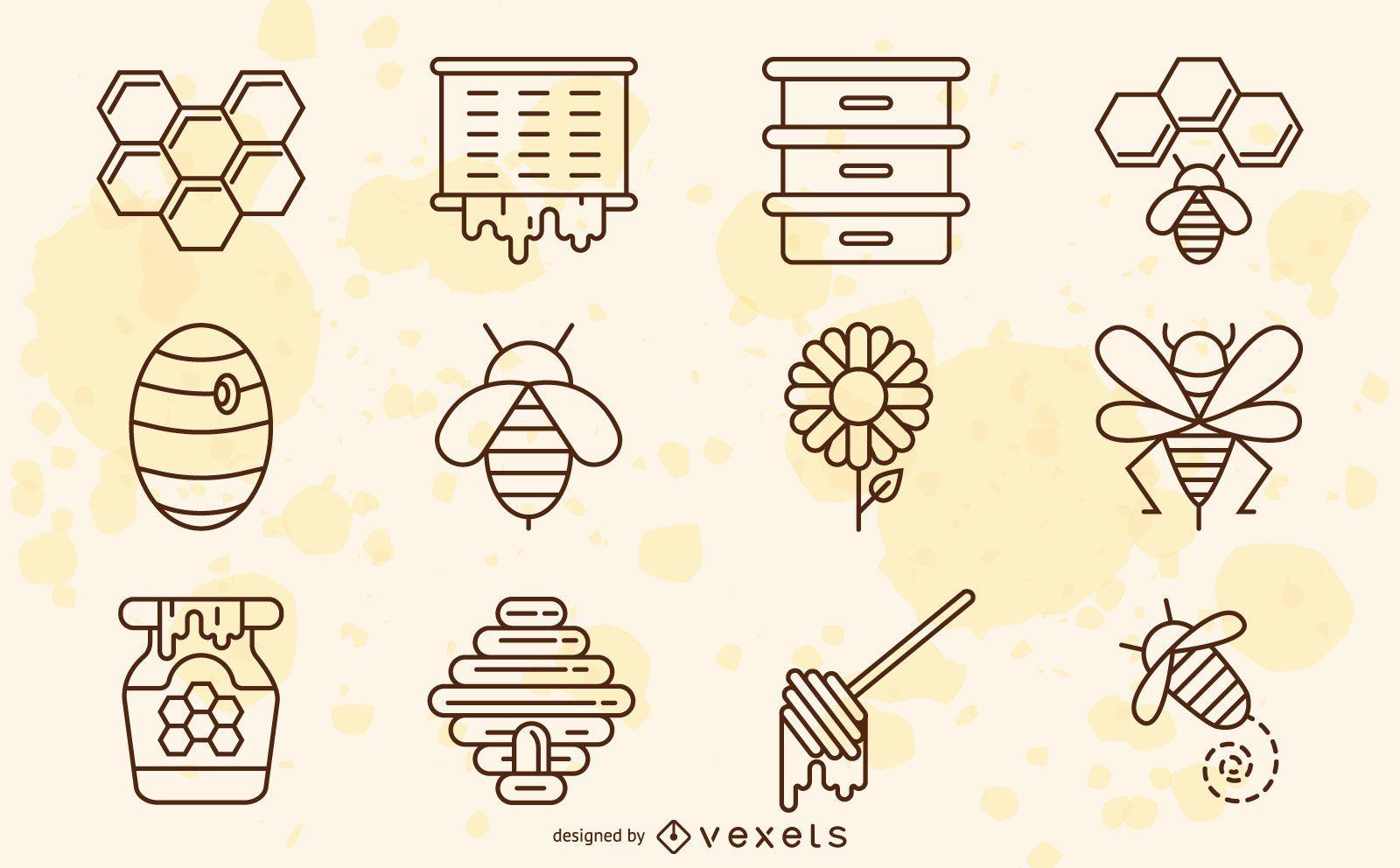 Colección de trazos de elementos de abeja