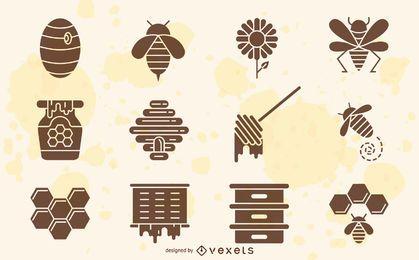 Colección de elementos de abeja