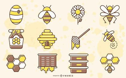 Colección coloreada de elementos de abeja