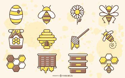 Colección de colores de elementos de abeja