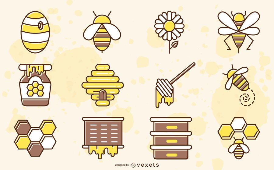 Bee elements colored collection