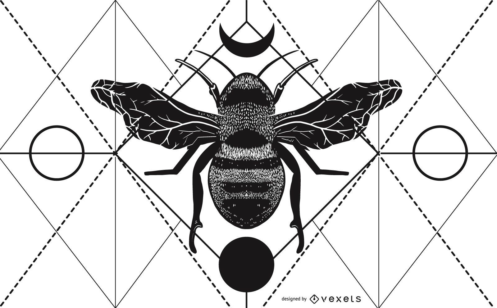 Ilustración geométrica de abeja