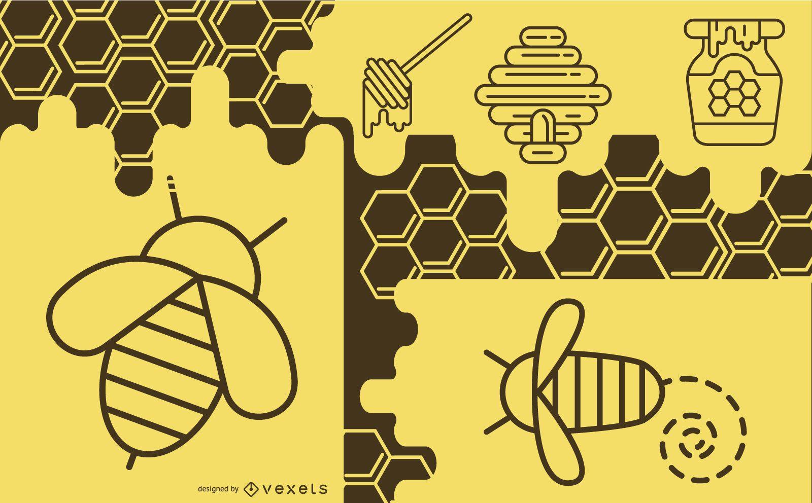 Diseño de composición de elementos de abeja
