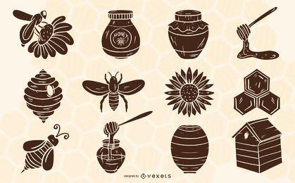 Conjunto de elementos de silhueta de apicultura