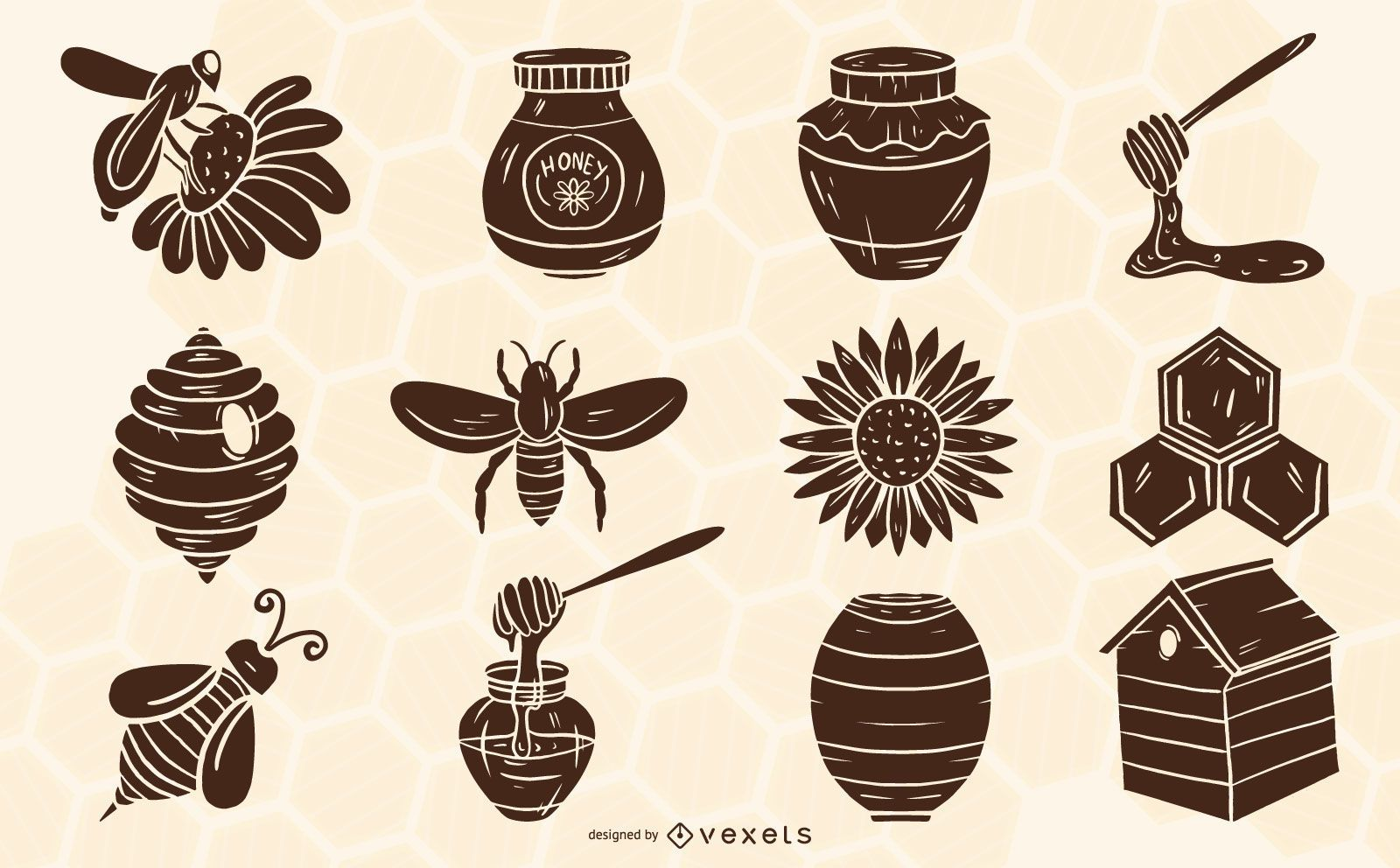 Conjunto de elementos de silueta de apicultura