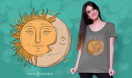 Diseño de camiseta de luna y sol.