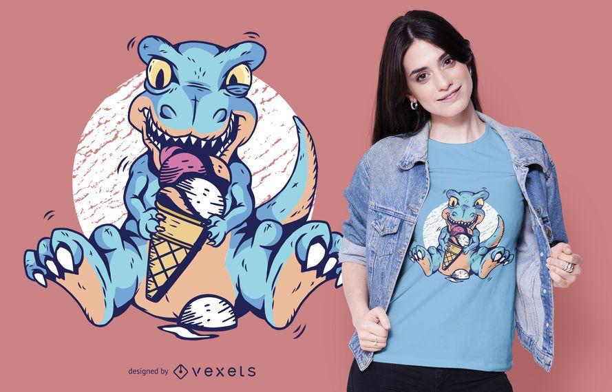 Design de camiseta de sorvete T-rex