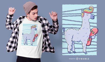 Diseño de camiseta de skate llama