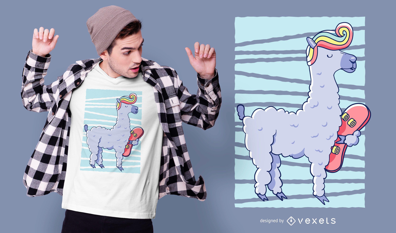 Diseño de camiseta llama skate