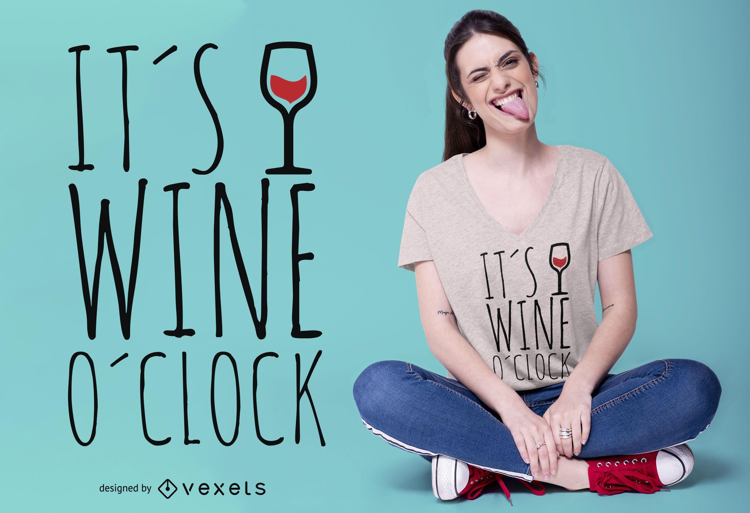 Diseño de camiseta de vino en punto