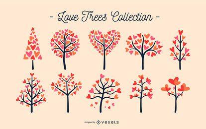 Conjunto de árvores coração dos namorados