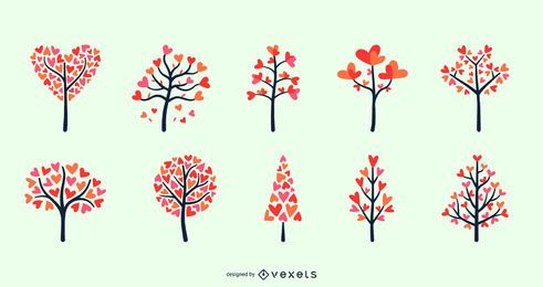 Conjunto de árboles de corazón de San Valentín