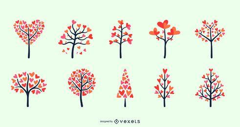 Conjunto de árvores de coração dia dos namorados