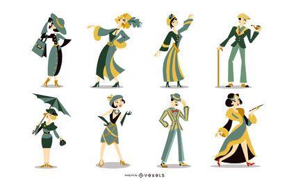 Paquete de personajes coloridos Art Deco