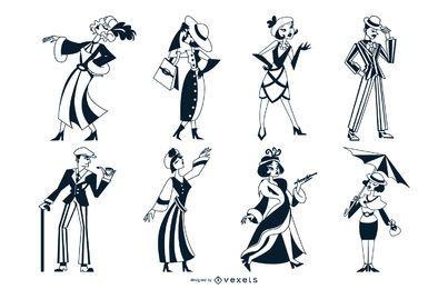Art Deco Menschen Monocolor Set