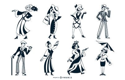 Art Deco People Monocolor Set