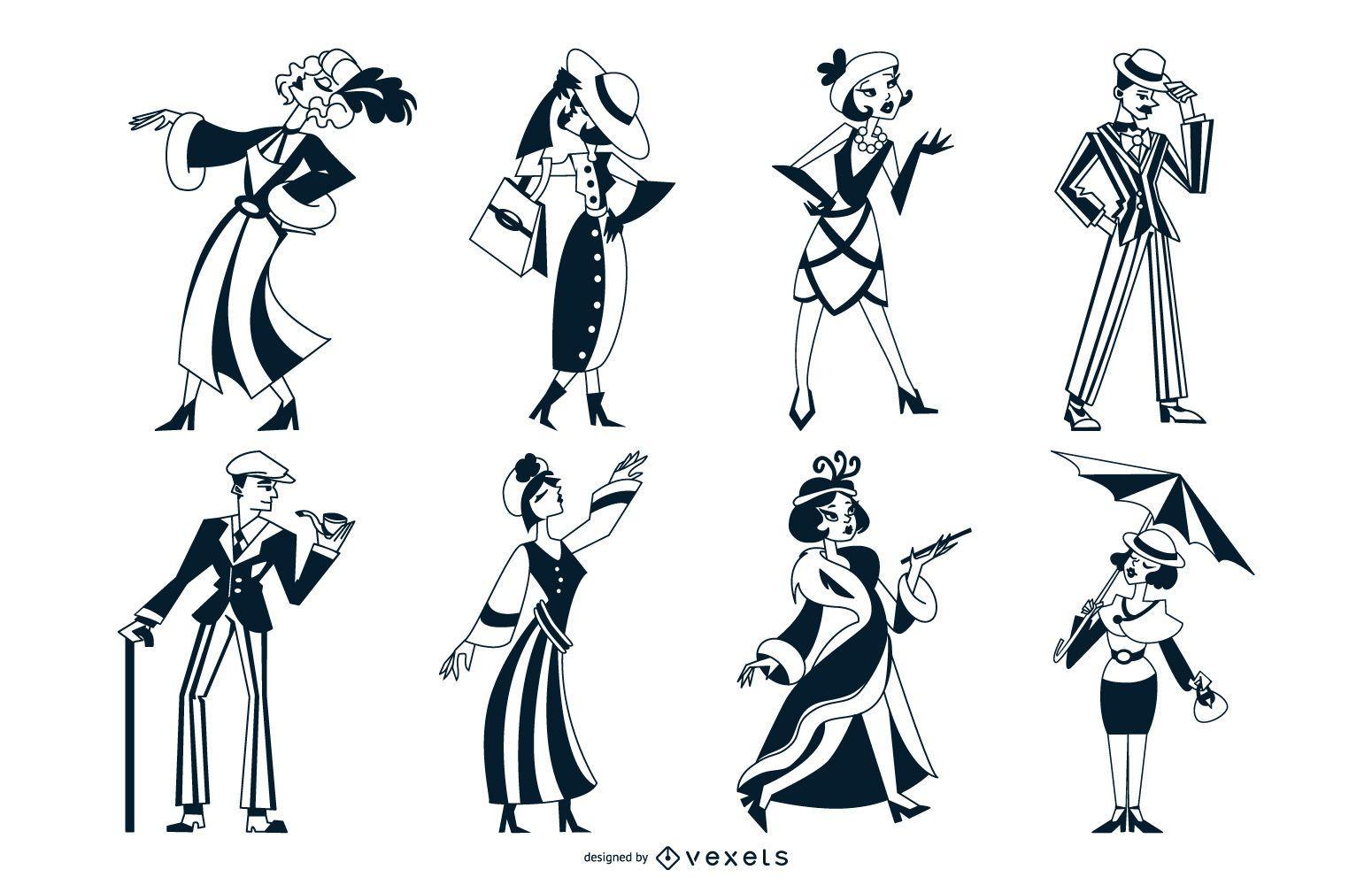 Conjunto monocolor de personas Art Deco