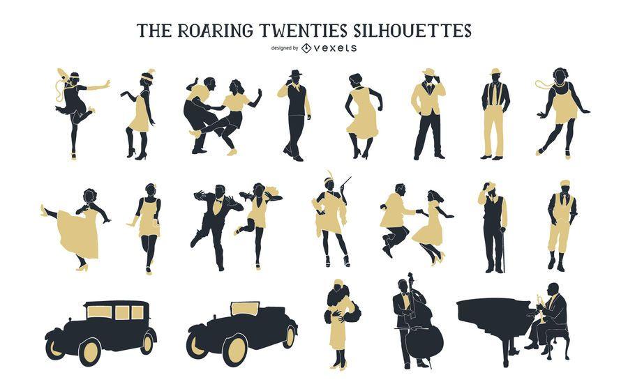 Vintage 1920s People Silhouette Pack